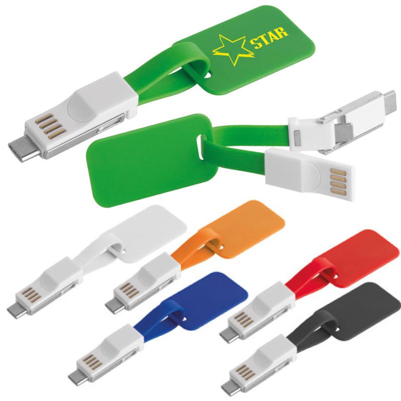 CAVO PORTACHIAVI PER SMARTPHONE IN PL. cm.2,5x4,5 C.CAVO DA USB A LIGHTNING E CAVO DA USB A TYPE-C ART.CM-131